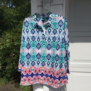 NWT Talbots Blue Green Red White Patterned Tunic